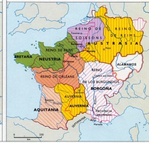 Reino franco II subdivisiones +Clovis511 y +Clotario561