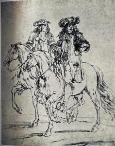 Offiziere zu Pferde Zeichng v d Meulen