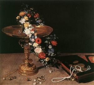Naturaleza muerta con copa, corona de flores y joyero