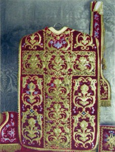 Red and gold vestments, said to have been used by Vincent de Paul