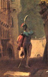 Husar de pluma blanca Spitzweg destaque del soldado